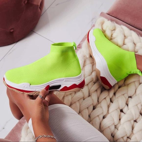 Neon Yellow Bad Bitch Sock Sneakers